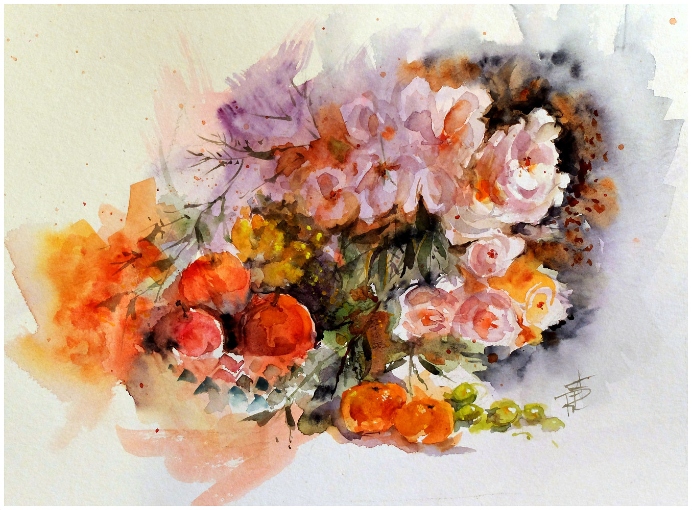 July Roses, 16x20,watercolour by Anne Farrall Doyle