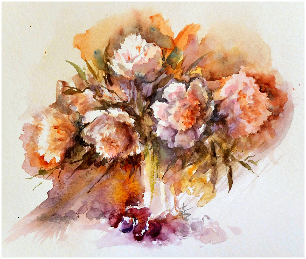 May Peonies, 16x20, watercolour by Anne Farrall Doyle