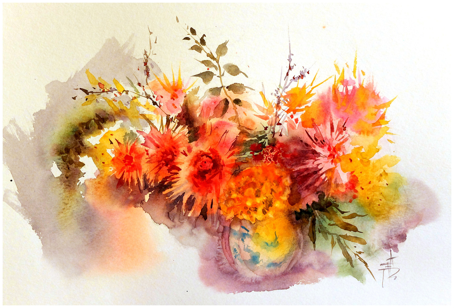 September Dahlias, 16x20, watercolour by Anne Farrall Doyle