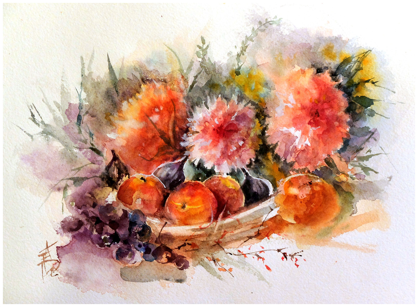 June Peonies, 16x20,watercolour by Anne Farrall Doyle
