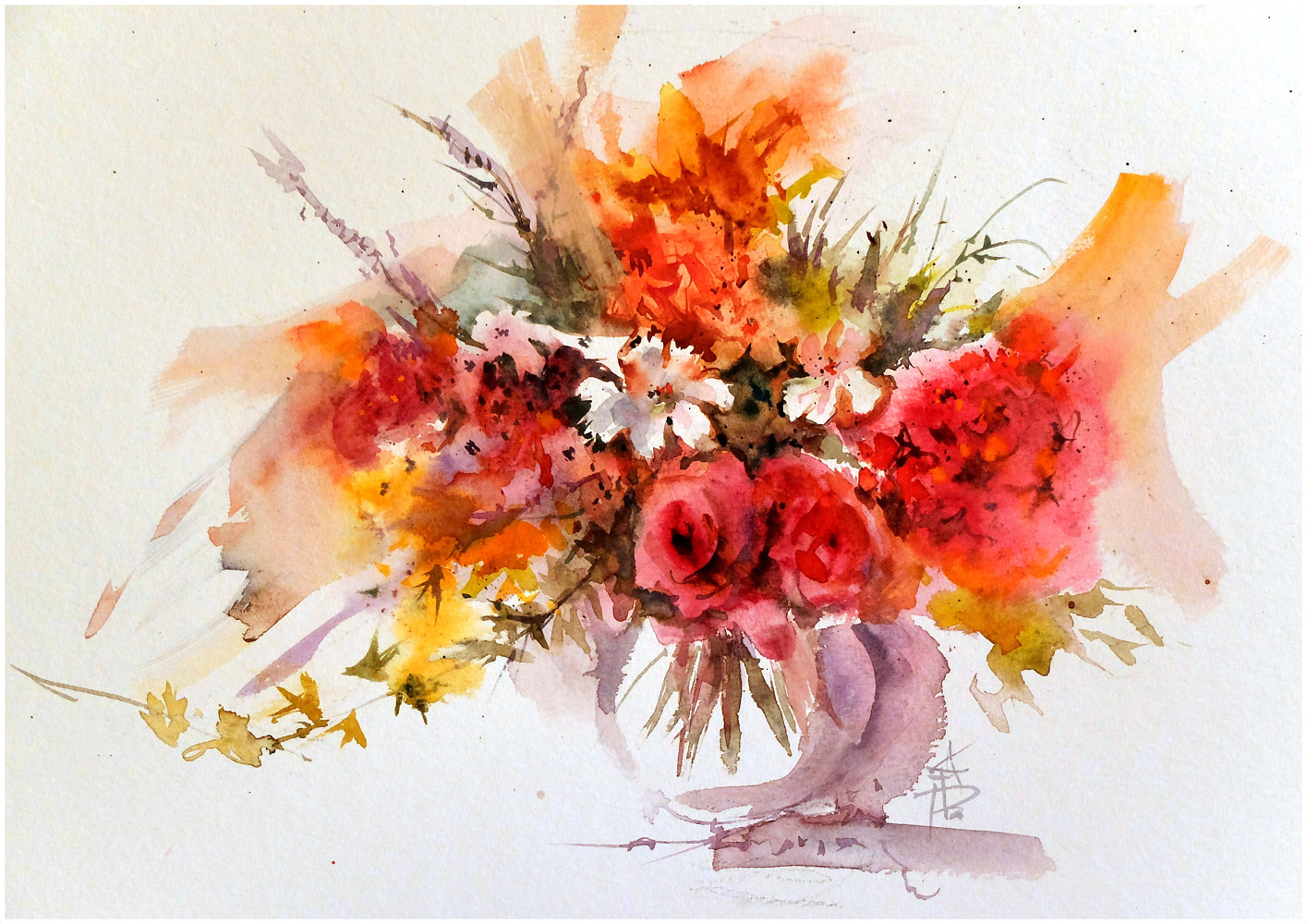 August bouquet, 16x20, watercolour by Anne Farrall Doyle