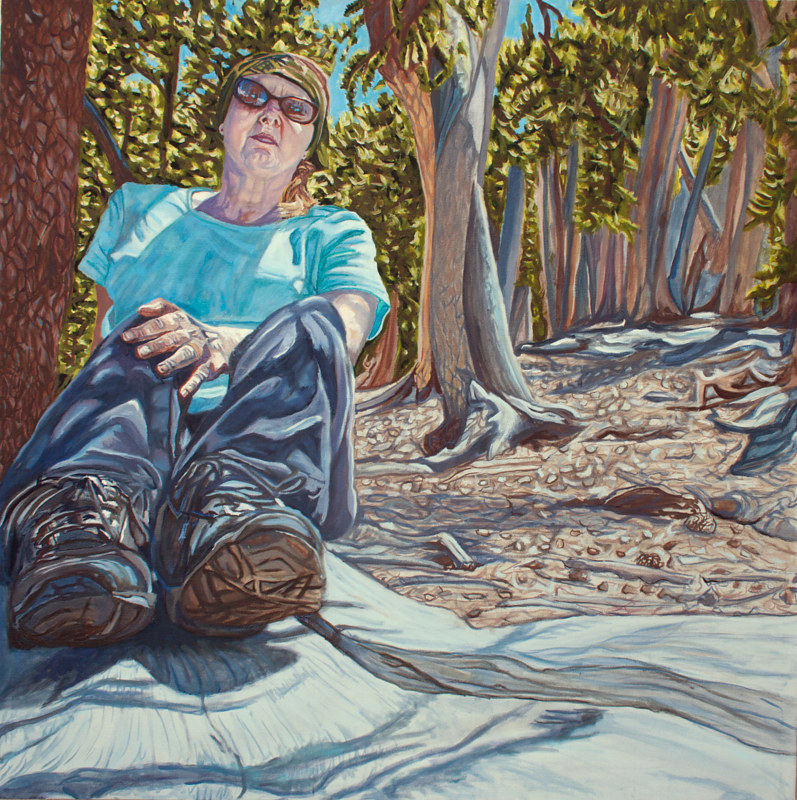 Oil painting Waiting for the Sunlight to Grow Me Through the Floor by Crystal Dipietro