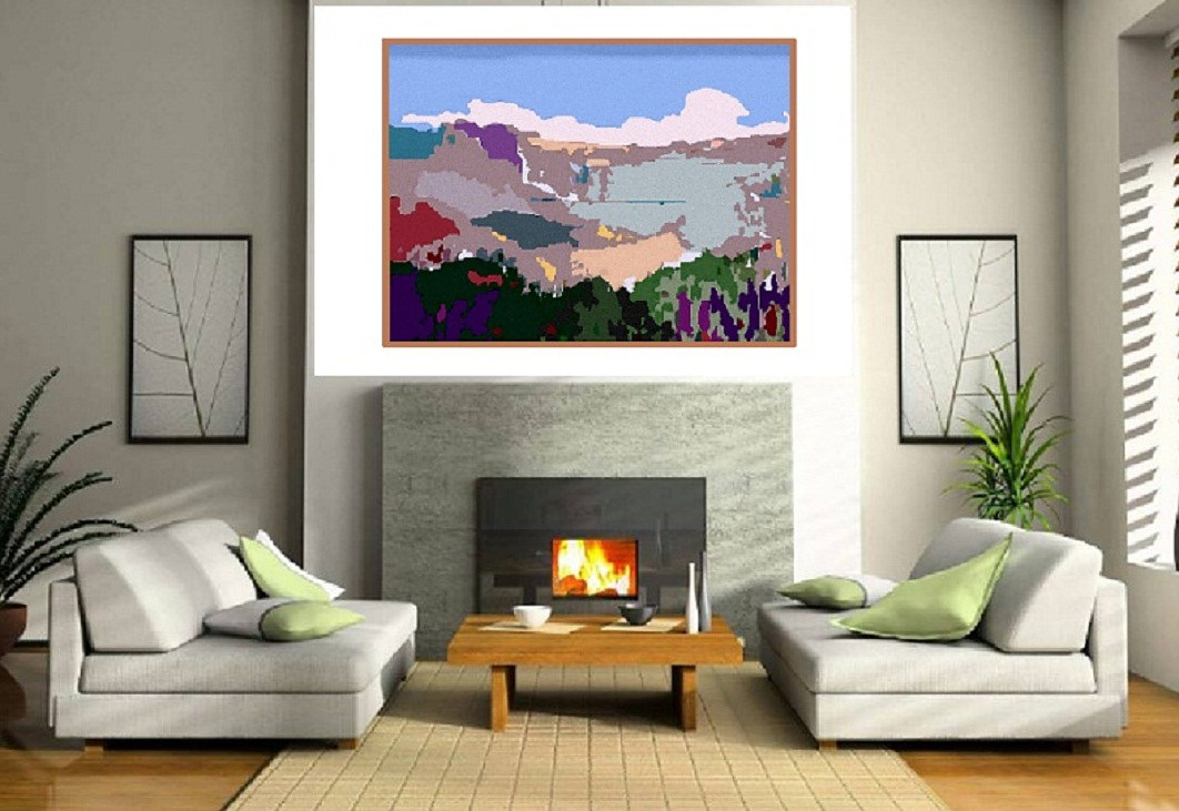 'Snow on Ridges' -Art in Living room by Vesa Peltonen
