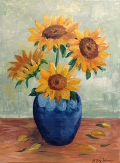 Acrylic painting Sunflowers in Vase - Van Gogh style by June Long-schuman