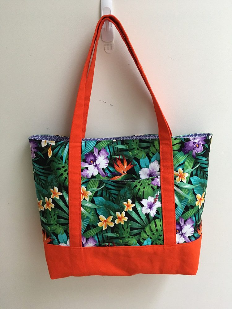 Tote - Hawaiian Fabric with Orange by Vicki Allesia