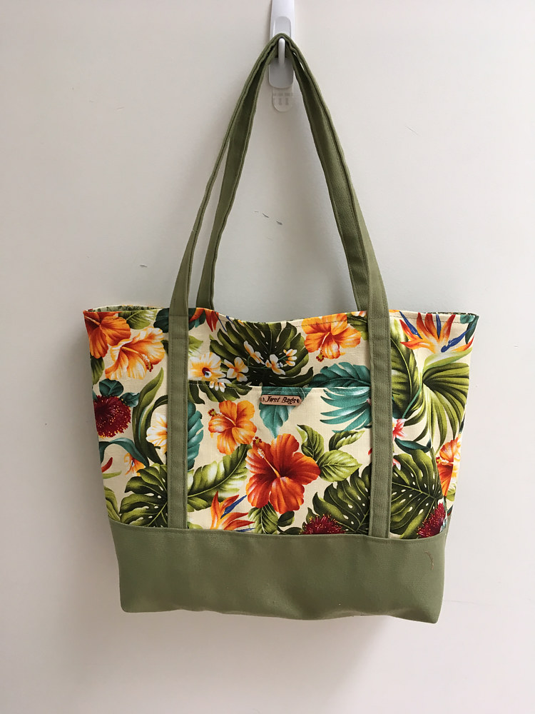 Tote - Hawaiian Fabric with Green by Vicki Allesia
