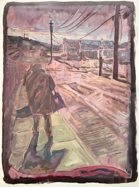 Pink Station Lover, 24 x 18, Oil on Arches Huile, 2018 by Edward Miller