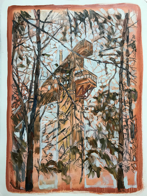 Ski Jump, 24 x 18, Oil on Arches Huile, 2018 by Edward Miller