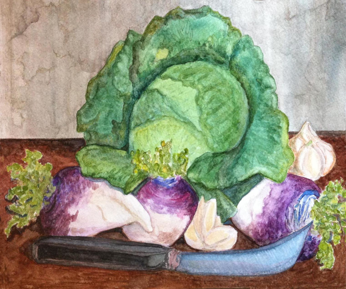 Watercolor Winter vegetables   by Anastasia O'melveny