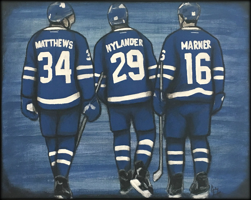 Acrylic painting LEAFS ROOKIES by Carly Jaye Smith