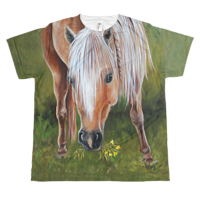 The Beautiful Buckskin Eating Flowers Youth T by Debbie Hart