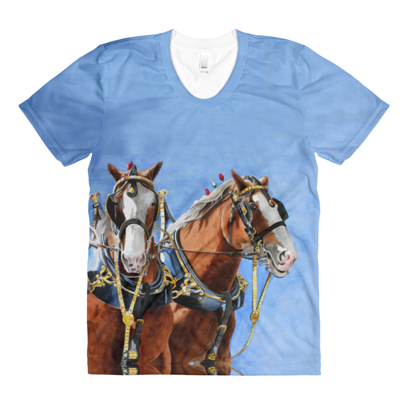 Print The Clydesdales Womens T by Debbie Hart