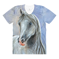 Print The Arabian on Blue Womens T by Debbie Hart
