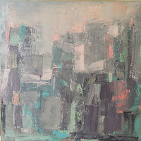 Oil painting Greyed City by Karen Rovner