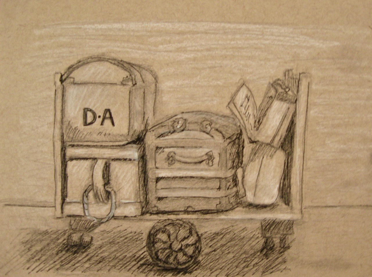 Drawing Antique Luggage by Elaine Lauzon