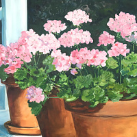 Pink Geraniums on Front Porch by Ginger Arthur