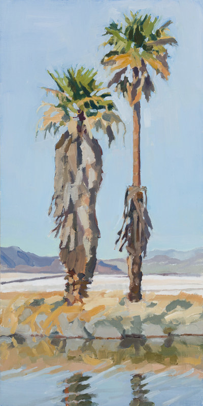 Oil painting Two Palms by Shawn Demarest