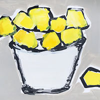 Acrylic painting Lemons in White Bowl II by Sarah Trundle