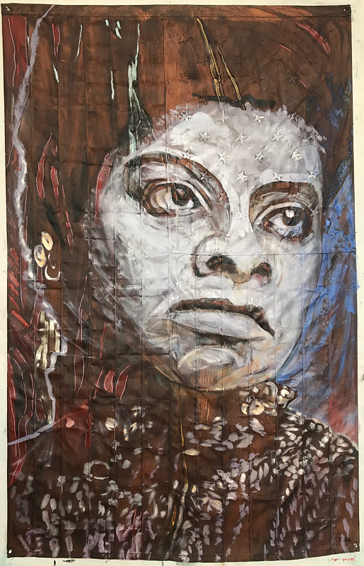 Ida B. Wells, 72 x 48, Oil on sewn and embroidered canvas, 2018 by Edward Miller