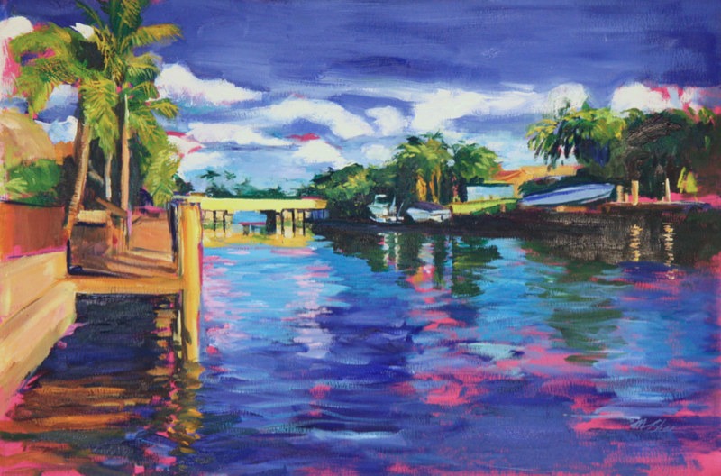 Oil painting east view of bridge, grand canal by Madeline Shea