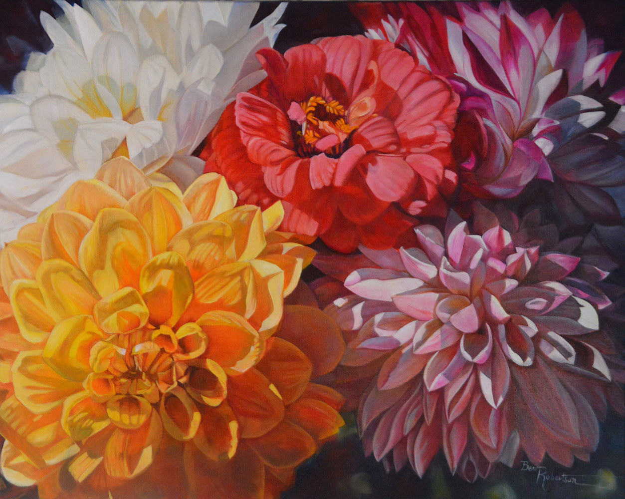 Oil painting The Zinnia Amongst Us BevRobertson BR201804 by Bev Robertson
