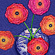 Ranunculus in Blue and White Vase  by Valerie Lesiak