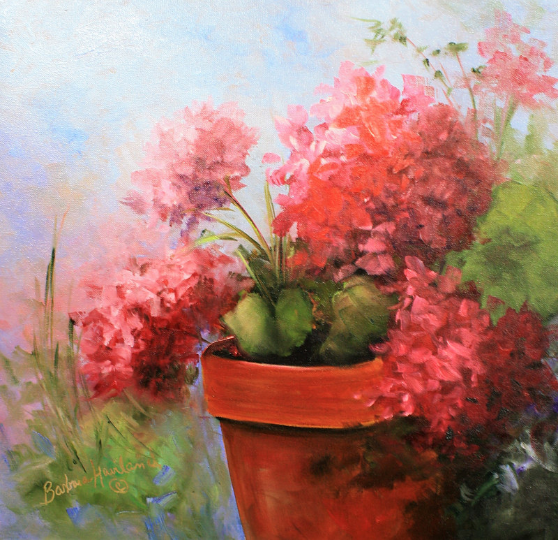 Oil painting Geraniums in a Pot by Barbara Haviland