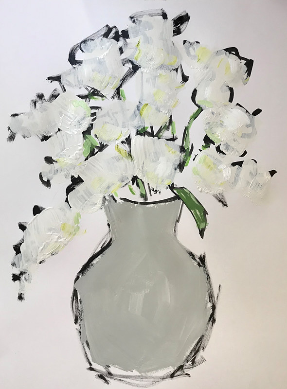 Acrylic painting Grey Vase by Sarah Trundle