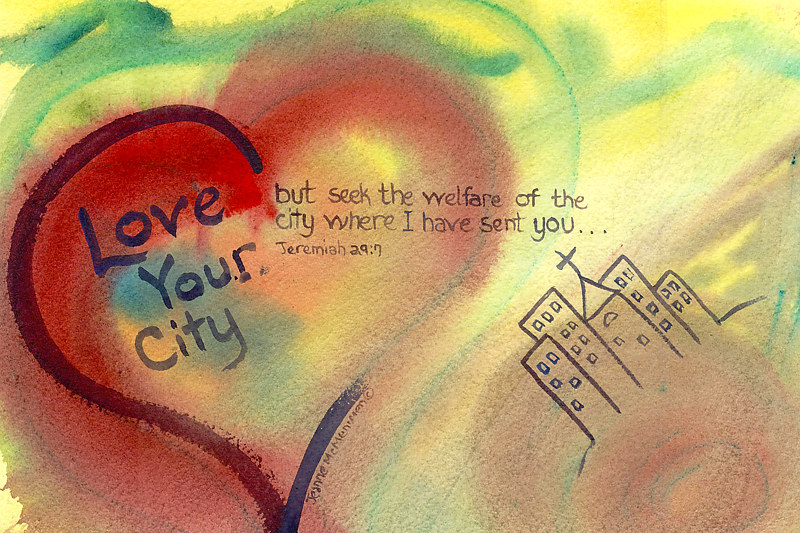 "Print ""Love Your City"" by Jeanne Mcmenimen"