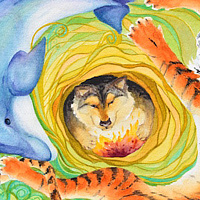 Watercolor Swimming to Her Cave of Wild Fire  by Lisa  Baechtle