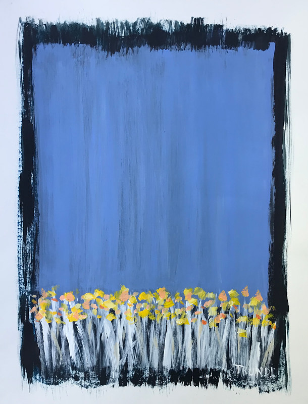 Acrylic painting Flowers on Blue II by Sarah Trundle
