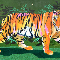 "Acrylic painting ""Jungle with Tiger"" by Jennifer Sparacino"