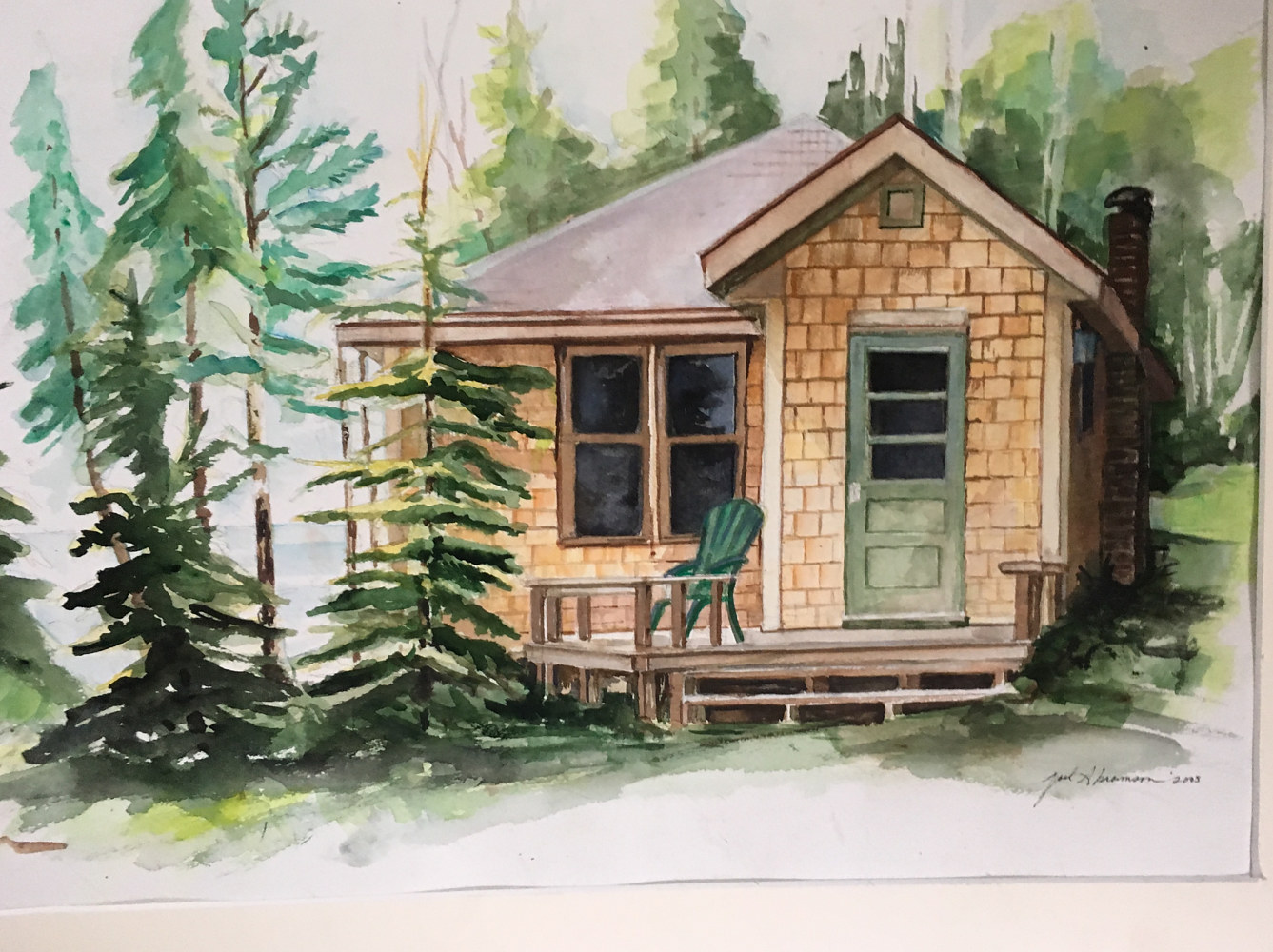 Watercolor Northwoods Cabin by Joel Abramson