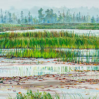 Oil painting Early Morning at King Brook Lake by Michael McEwing