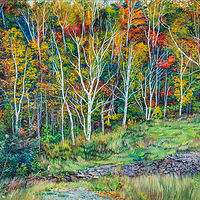 Oil painting Fall Birch Trees On Blueberry Hill by Michael McEwing