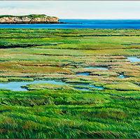 Oil painting Looking Across the Marsh at Manawagonish Island by Michael McEwing
