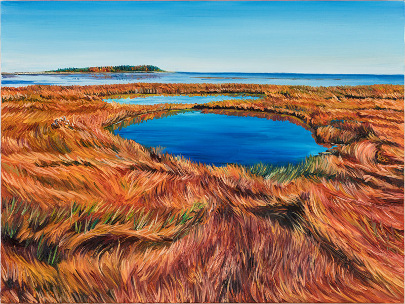 Oil painting Autumn Acadian Coastal Wetland by Michael McEwing