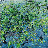 Oil painting Pickerel Weed Estabrooks Pond by Michael McEwing