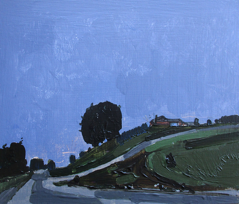 Acrylic painting Night Ride, Hillside by Harry Stooshinoff