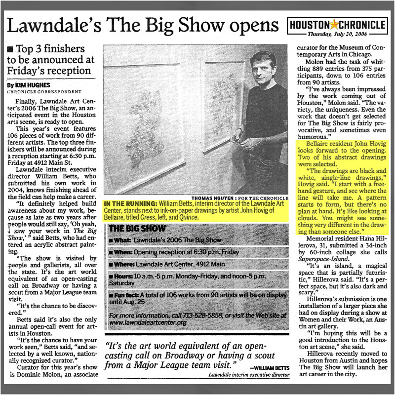 2006-07-20 Houston Chronicle Lawndale Big Show Opens by John Hovig