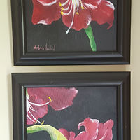Oil painting Amaryllis  Pair diptych by Barbara Haviland