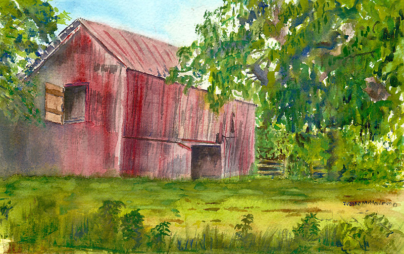 "Print ""Red Barn"" by Jeanne Mcmenimen"