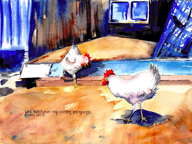 "Print ""Chickens"" by Jeanne McMenimen"