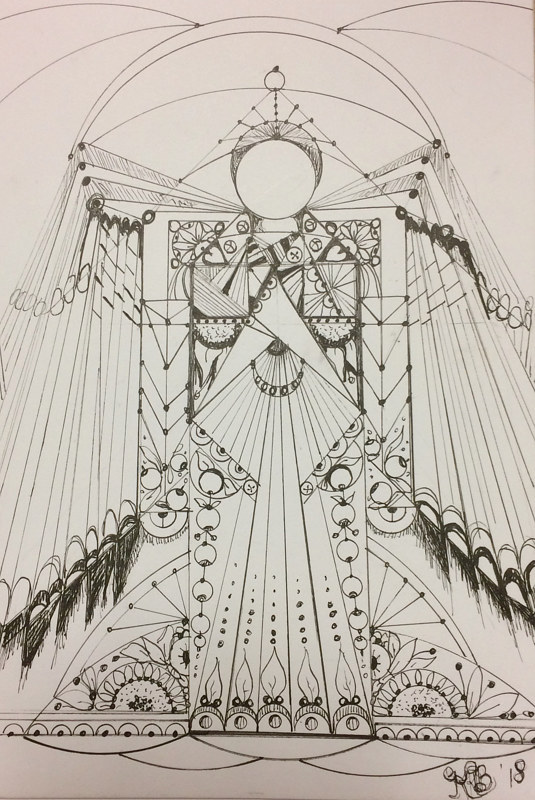 Drawing AA Metatron by Karen Brodeur
