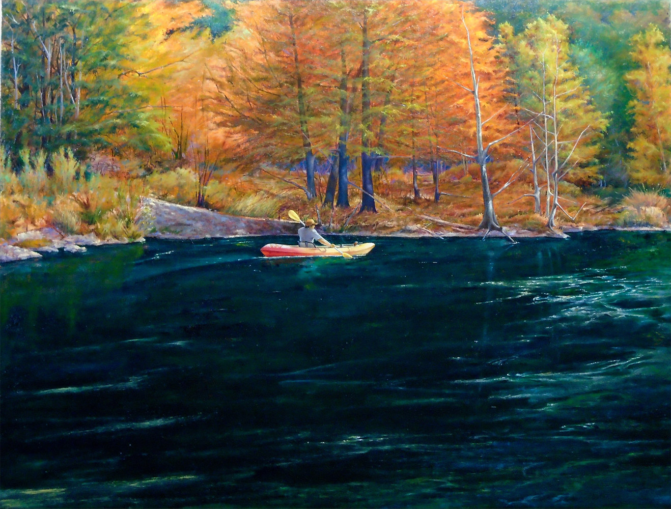 Fall on the Frio, Garner State Park Texas  30x40 by Gary Nowlin