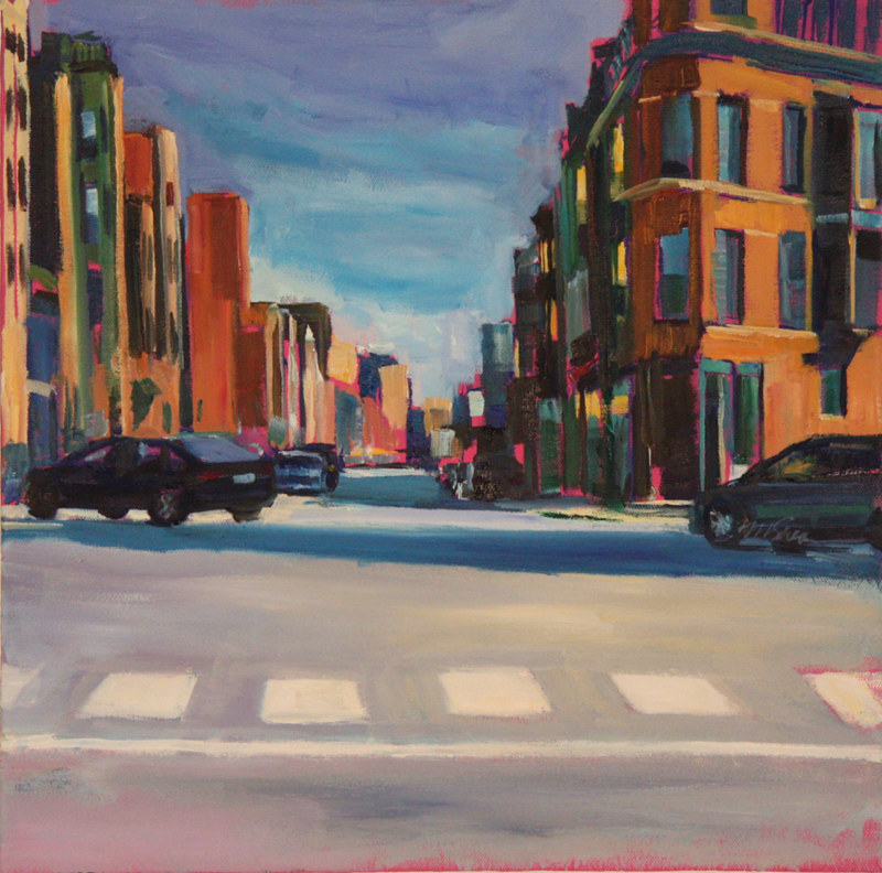 Oil painting south view of lincoln at diversey by Madeline Shea