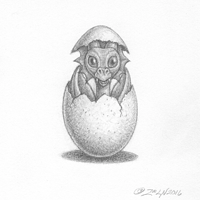 Painting Li'l dragons, a hatchling by Sue Ellen Brown