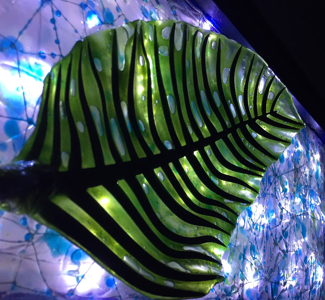 Steel and Glass Leaf (detail with backlight) by Steven Simmons