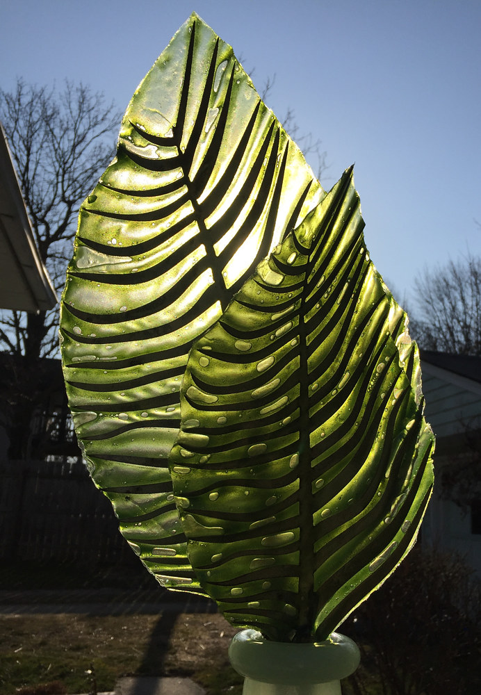Steel and Glass Leaves (2d wave, large and small green) by Steven Simmons