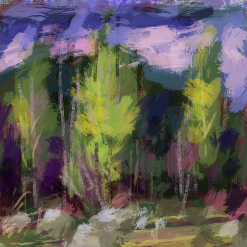 Painting Quick Study of Pooler Trees by Bernard Dick